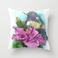 hibiscus Throw Pillows featuring Hibiscus by Maria Trillidou