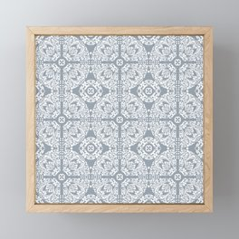 Mediterranean Tiles In Blue / Grey & White Framed Mini Art Print