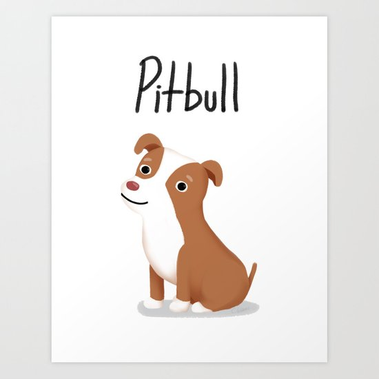 Pitbull - Cute Dog Series Art Print