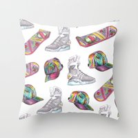 hologram Throw Pillows featuring watercolor back to the future 2 by Sarah Brust