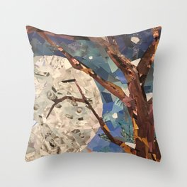 MOON WOOD COLLAGE Throw Pillow