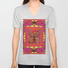 ABSTRACT MONARCH BUTTERFLY IN PINK-YELLOW Unisex V-Neck