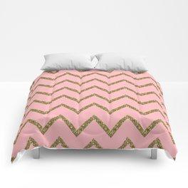 Gold & Pink Glitter Chevron Comforters