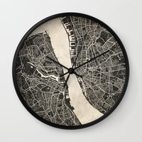 liverpool Wall Clocks featuring liverpool map ink lines by Les petites illustrations