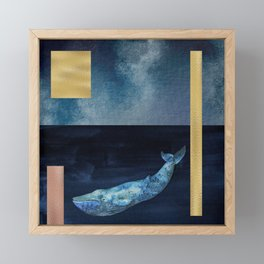 Blue Whale - Gold, Copper And Deep Blue Framed Mini Art Print