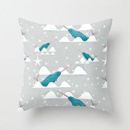 Sea unicorn - Narwhal grey Throw Pillow