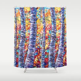 Autumn Aspen Trees Contemporary Painting with a Palette Knife Shower Curtain