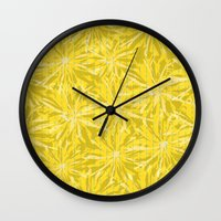 sunflowers Wall Clocks featuring Sunflowers by Simi Design