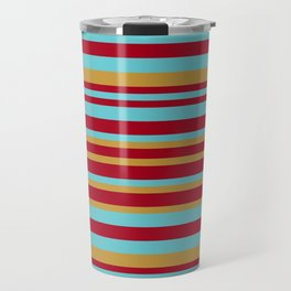Golden, Red Wine and Turquoise Vintage Stripes Travel Mug