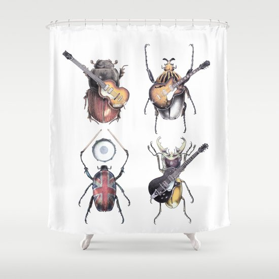 Meet the Beetles (white option) Shower Curtain