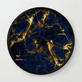Indigo Blue Marble with 24-Karat Gold Veins Wall Clock