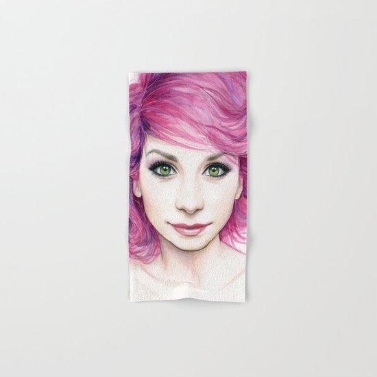Pink Hair Green Eyes Beautiful Girl Hand & Bath Towel