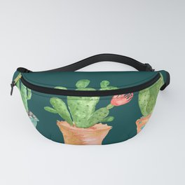 Three Green Cacti On Green Background Fanny Pack