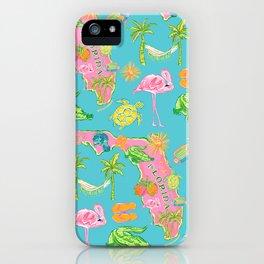 Florida map / flamingo pattern iPhone Case