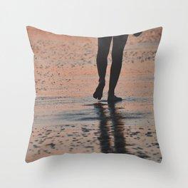 Girl walking on sunset Throw Pillow