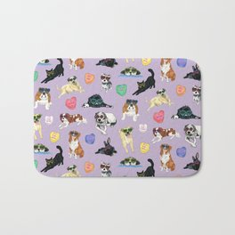 Valentine's Day Candy Hearts Puppy Love - Purple Bath Mat