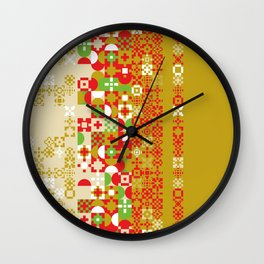 Red gold green abstract modern geometric background, pattern Wall Clock