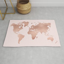 Rose Gold World Map Rug