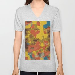 vintage psychedelic geometric painting texture abstract in orange yellow brown blue Unisex V-Neck