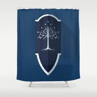 gondor Shower Curtains featuring Shield of Gondor by DWatson