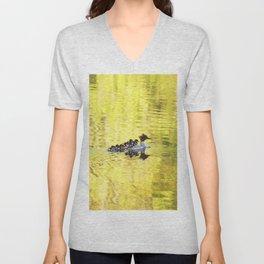 Bird's Family Happiness - Lake Reflection - Summer Scene #decor #society6 #buyart Unisex V-Neck