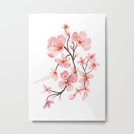 Pink Cherry Blossoms Floral Metal Print