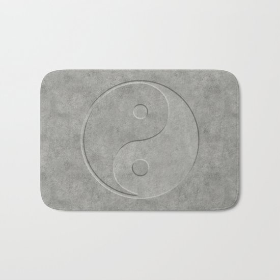 Yin and Yang Symbol embossed  concrete stone Bath Mat