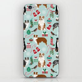 Australian Shepherd christmas festive holiday dog breed gifts for holidays iPhone Skin