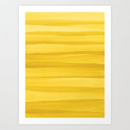 Yellow Watercolor Lines Pattern Art Print