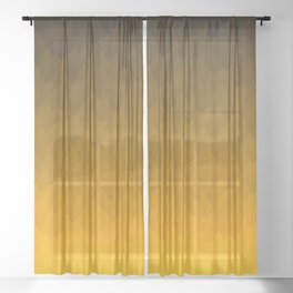 Black, orange, yellow ombre flames Sheer Curtain