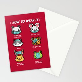 How not to wear a face mask  animals cute funny Stationery Cards