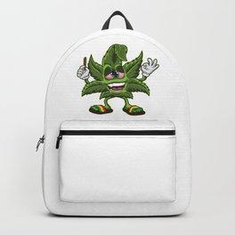 Stoned Cannabis Leaf - Weed Smoking Cartoon Backpack