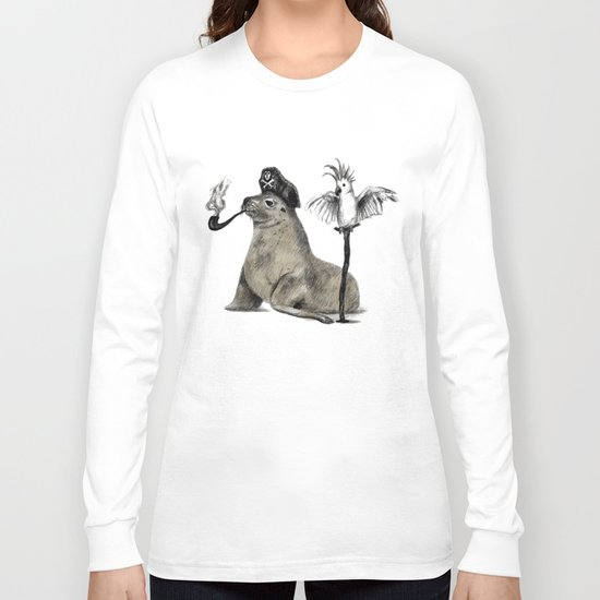 Pirate // seal parrot Long Sleeve T-shirt