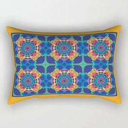 World Citizen Mandala Tiled - Gold Blue Rectangular Pillow