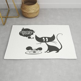 cartoon dinner time for cat and mouse! Rug