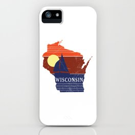 Wisconsin State WI Sailboat Sunset Print iPhone Case