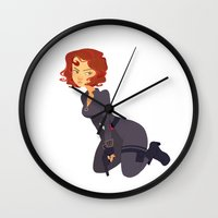 black widow Wall Clocks featuring Black Widow by Kelslk