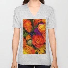 Orange roses Unisex V-Neck