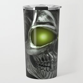 Skull with glowing green eyes Travel Mug