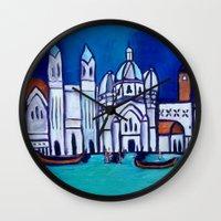 venice Wall Clocks featuring Venice by Theresa Giolzetti