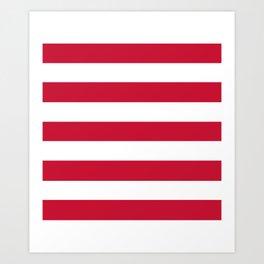 Rambutan - solid color - white stripes pattern Art Print