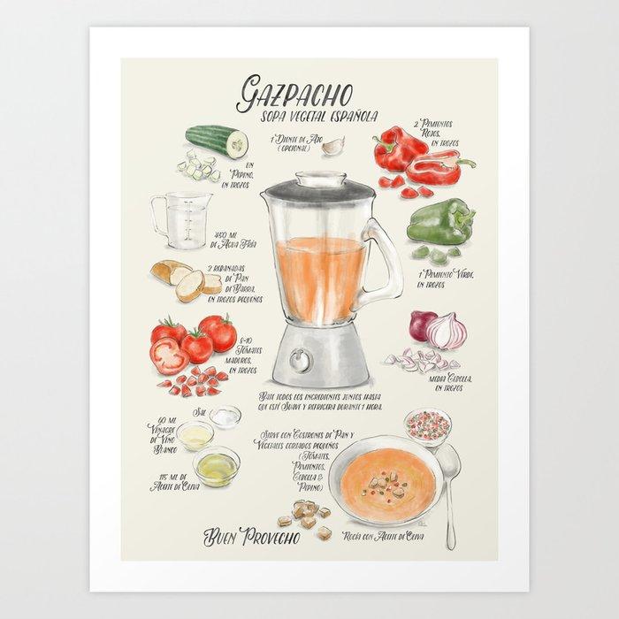Gazpacho illustrated recipe in Spanish Art Print