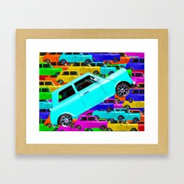 vintage classic car toy pattern background in yellow blue pink green orange Framed Art Print