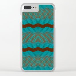 September Curves (Brown & Teal) Clear iPhone Case