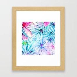 Flashy Colorful Tropical Flowers Design Framed Art Print