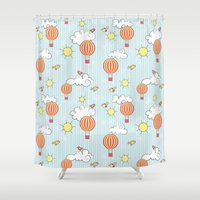 hot air balloon Shower Curtains featuring hot air balloon by jodysart