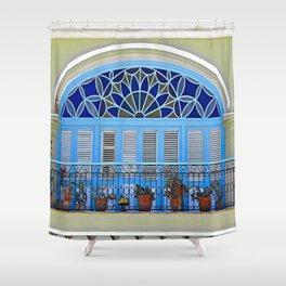 Balcony with Flowerpots  Shower Curtain