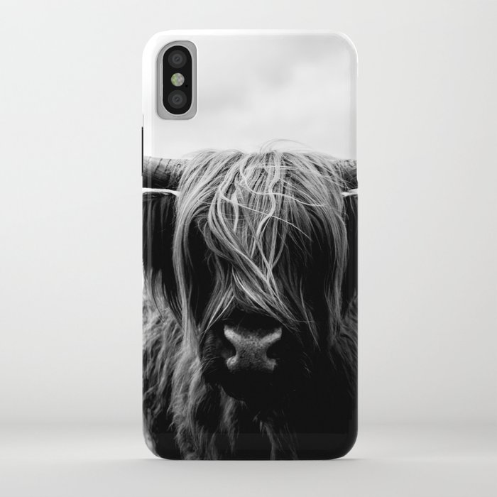 scottish highland cattle black and white animal iphone case
