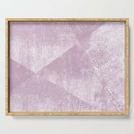 Mauve and White Geometric Ink Texture Serving Tray