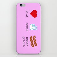 grease iPhone & iPod Skins featuring Love - Peace - Bacon Grease by Dukesman